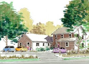 Rendering of future duplex - two story and one story unit